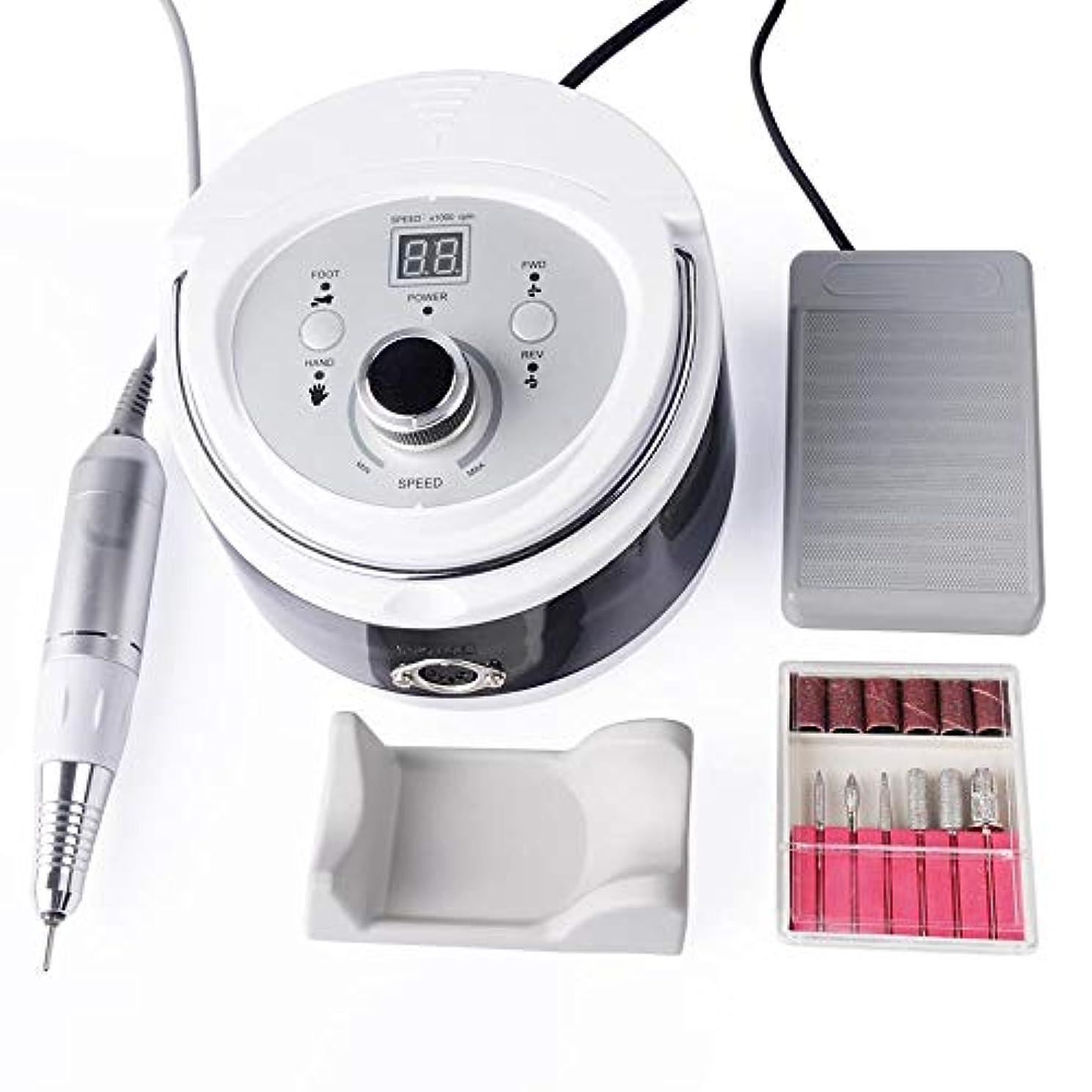 音ラバ韓国語ネイルドリルマシン、30000RPMプロフェッショナルネイルマニキュアマニキュアマシン電動工具用ネイルドリルアート研磨工作機械ドリルビットLCDスクリーン