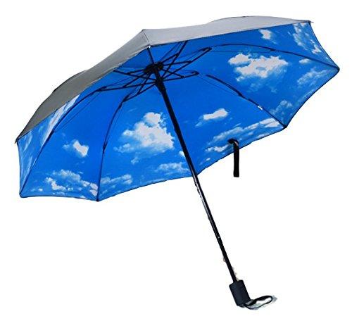 (INFINTIE) 大型96cm 折りたたみ傘 上品な花柄 日傘 晴雨兼用 8本骨 (青空)