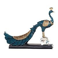 置物 抽象的なピーコックモデリング装飾彫刻居間ベッドルームポーチホテルカフェハイエンド装飾 UOMUN (色 : 青)