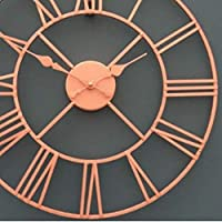 ヴィンテージハンギングウォールクロック クリエイティブレトロウォールマウントクロック壁掛け装飾時計簡単なパーソナリティウォールチャート鍛鉄ヨーロッパのウォールクロック(カラー:オレンジ) リビングルームの寝室用装飾時計 (色 : Orange)