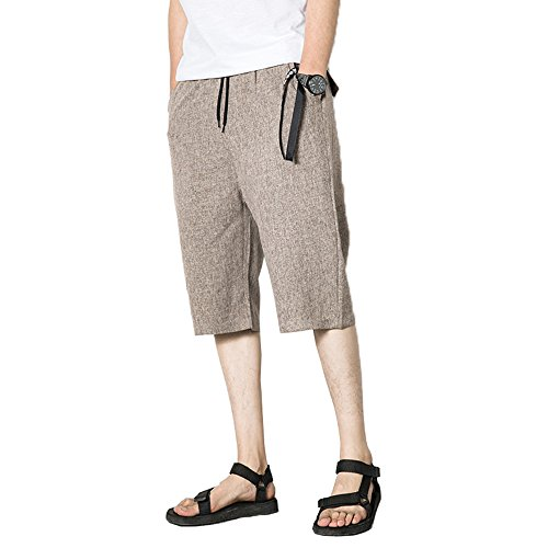 EIMEI ワイドパンツ ゆったり ショートパンツ 夏服 夏物 七分丈 お兄系 無地 短パン 大きいサイズあり M~5XL (2XL, 杏色)