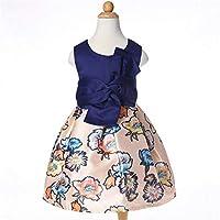 女の子のドレス、ハイウエスト印刷王女のレースの蝶の花嫁介添人チュチュノースリーブローズフラワーショートパーティー誕生日の夜 150