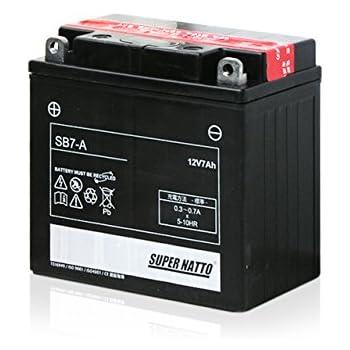 SUPER NATTO バイク用バッテリー SB7-A(YB7-A 12N7-4A GM7Z-4A FB7-A互換) スーパーナット密閉式 MFバッテリー
