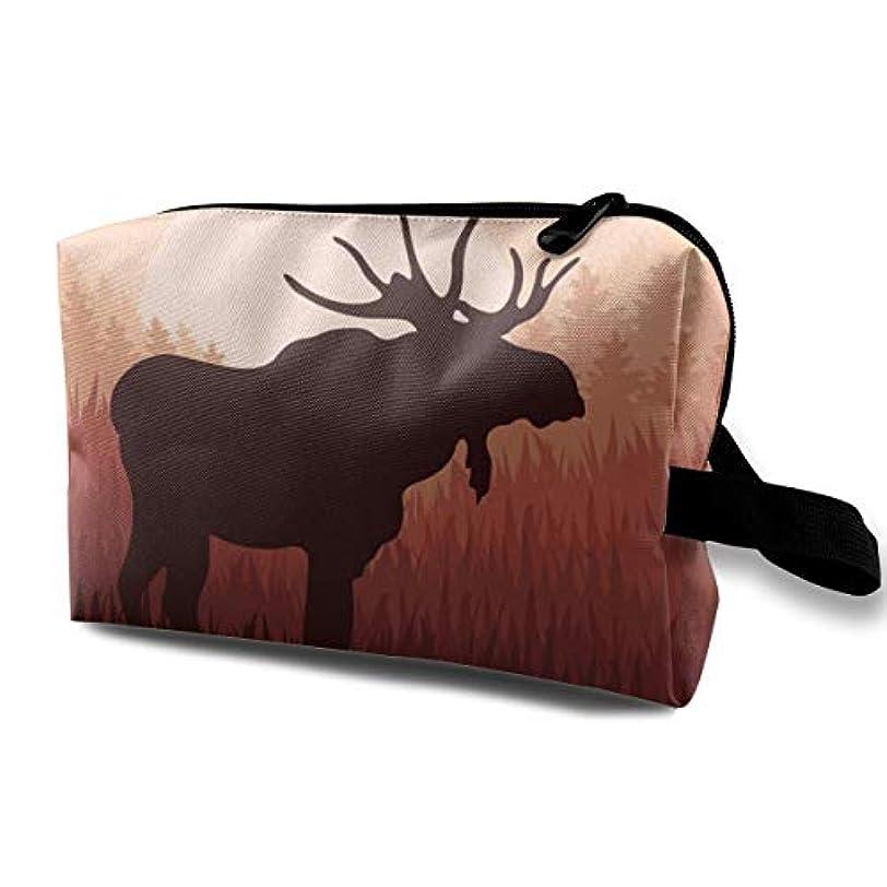 シンプトン清める留め金Antlers In Wild Alaska Forest 収納ポーチ 化粧ポーチ 大容量 軽量 耐久性 ハンドル付持ち運び便利。入れ 自宅?出張?旅行?アウトドア撮影などに対応。メンズ レディース トラベルグッズ