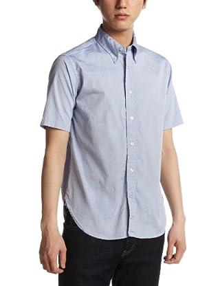 Pin Oxford Short Sleeve Buttondown Shirt 111-52-0032: Blue