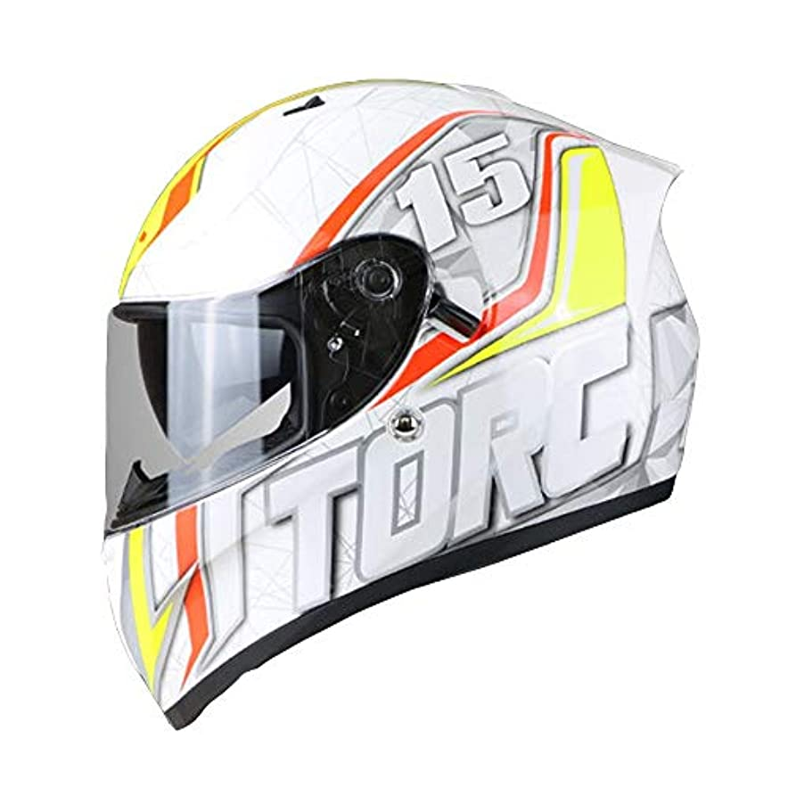 怪しいより平らな家主HYH オートバイヘルメット防曇二重レンズフルフェイスヘルメットオートバイヘルメット四季普遍的な夏のヘルメット - オレンジ - 人格パターン - 大 いい人生 (Size : L)