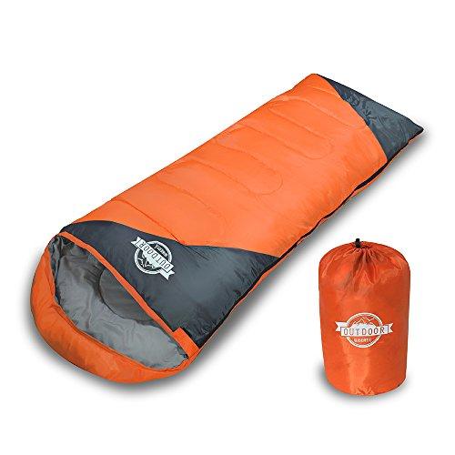 WIBERTA(ウィベルタ) 寝袋 シュラフ スリーピングバッグ 封筒型 コンパクト 軽量 丸洗い 最低使用温度0度 収納袋 雑誌掲載商品 オレンジ