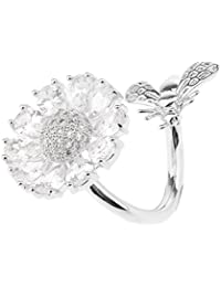 Dolity Women's Scarf Buckle Ring Clip Holder Crystal Flower Silk Scarves Jewelry