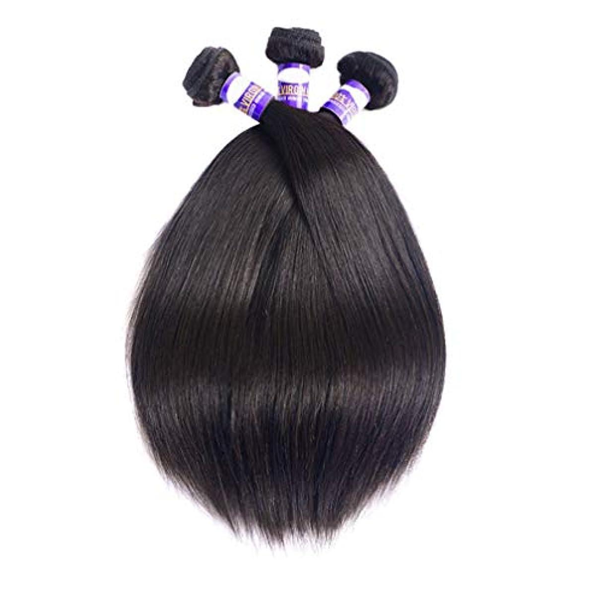 咲くアボート磨かれた女性ブラジル髪織り髪束ストレートフリーパーツ未処理ブラジルストレート髪バンドル8Aストレート人間の髪の束(3バンドル)