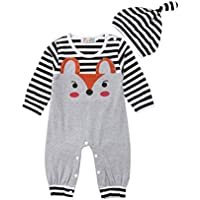Hotwon 2PCS Newborn Baby Boy Girl Stripes Cute Fox Romper Jumpsuits Long Sleeve Bodysuits Playsuit+Hat