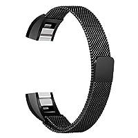 Pithsprout 時計バンド ストラップ 耐久性&織りステンレス鋼ユニークな磁気ループ時計バンドブレスレットストラップバンド交換Fitbitアルタ&HRブラックL