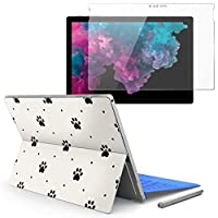 Surface pro6 pro2017 pro4 専用スキンシール ガラスフィルム セット 液晶保護 フィルム ステッカー アクセサリー 保護 アニマル 犬 足跡 白黒 模様 008003