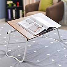 XYXK LAPTOP STAND Laptop Bed Table Tray Adjustable Height Lapdesks Foldable Notebook Computer Sofa Table Stand for Books Documents Having Breakfast in Bed (Color : Brown, Size : L60*W36*H27cm) Fold St