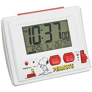 スヌーピー 目覚まし時計 電波時計 温度・湿度計付き 白 リズム時計 R126 8RZ126RH03