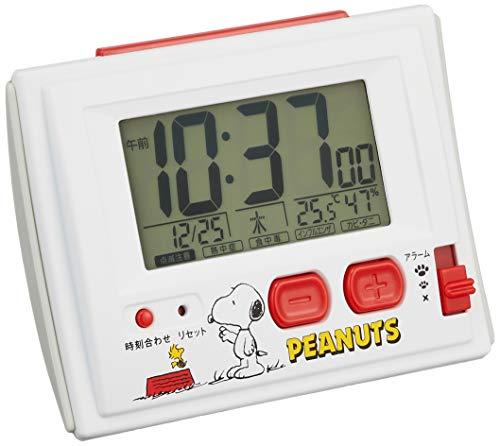 スヌーピー 目覚まし時計 電波時計 温度・湿度計付き 白 リ...