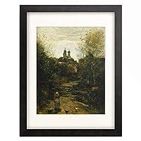 ジャン=バティスト・カミーユ・コロー Jean-Baptiste Camille Corot 「Semur, the Way to Church. Painted circa 1855-60 and 1872-73」 額装アート作品