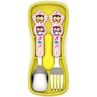 Edison Kids Straight Edge Spoon & Grooved Noodle Fork Set with Case (Pink) [並行輸入品]