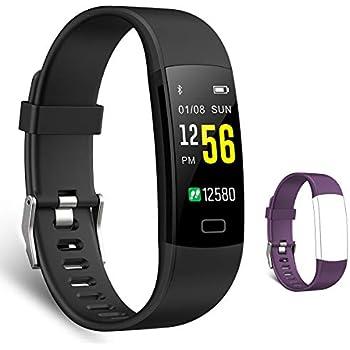 スマートブレスレット 多機能スマートウォッチ 心拍計 血圧計 活動量計 万歩計 腕時計型 IP67防水 電話着信 Line通知 睡眠検測 歩数計(交換用ベルト付属) (ブラック)