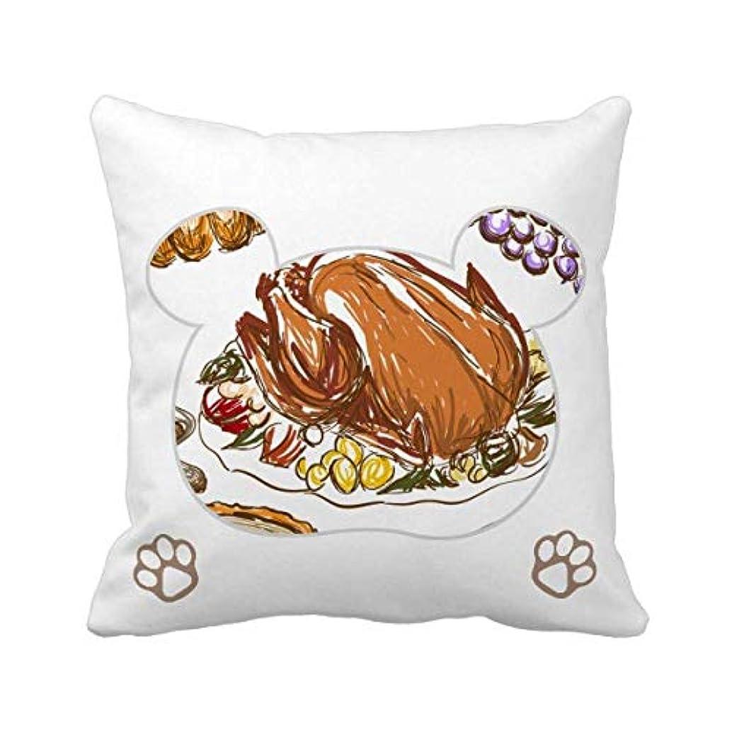 ポーン助手恐れるトルコのブドウの感謝祭の日のパターン 枕カバーを放り投げてスクエアベア 50cm x 50cm