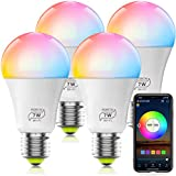 HaoDeng WiFi LED Light, 4Pack Smart Bulb -Timer& Sunrise& Sunset- Dimmable, Multicolor, Warm White (Color Changing Disco Ball Lamp) - 7W A19 E27(60W Equivalent), Compatible with Alexa, Google Home Assistant and IFTTT