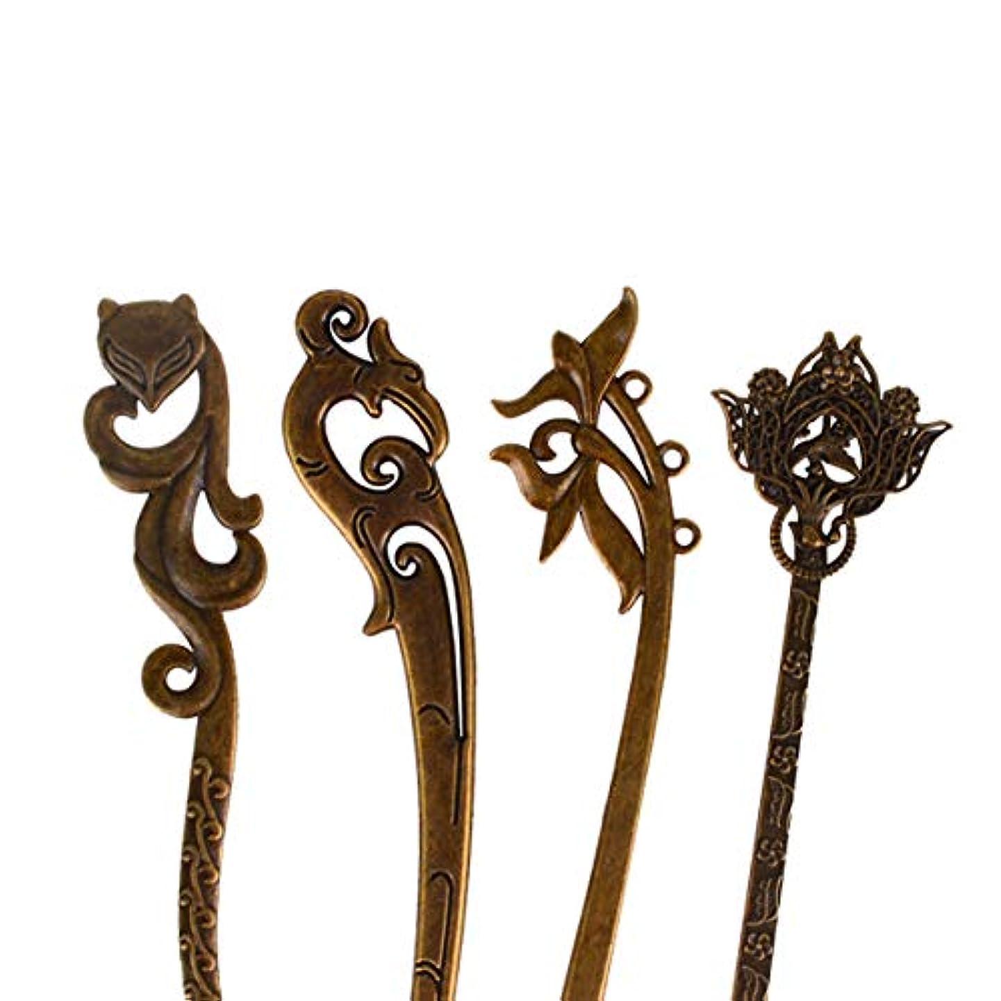 しおれた空の配置Sankuwen かんざし 髪飾り 一本簪 レトロ ファッション 4本セット