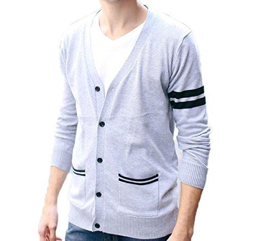 (モリハニ) moli&hani Vネック ニット Tシャツ メンズ カーディガン 編み 長袖 ニットセーター ボタン型 春 秋 冬 M L XL 2XL 全2色(ブラック グレー)
