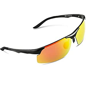 Torege 偏光レンズ スポーツサングラス 超軽量 アルミニウム・マグネシウム合金 UV400 紫外線カット スポーツサングラス/ 自転車/釣り/野球/テニス/スキー/ランニング/ゴルフ/ドライブ M291 (ブラック&レッドレンズ)