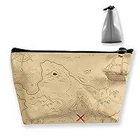海洋地図 化粧ポーチ 人気 大容量 台形 メイクポーチ トラベルポーチ 旅行 ハンドバッグ コスメ コイン 鍵 小物入れ 化粧品 収納ケース 小さな化粧品の袋