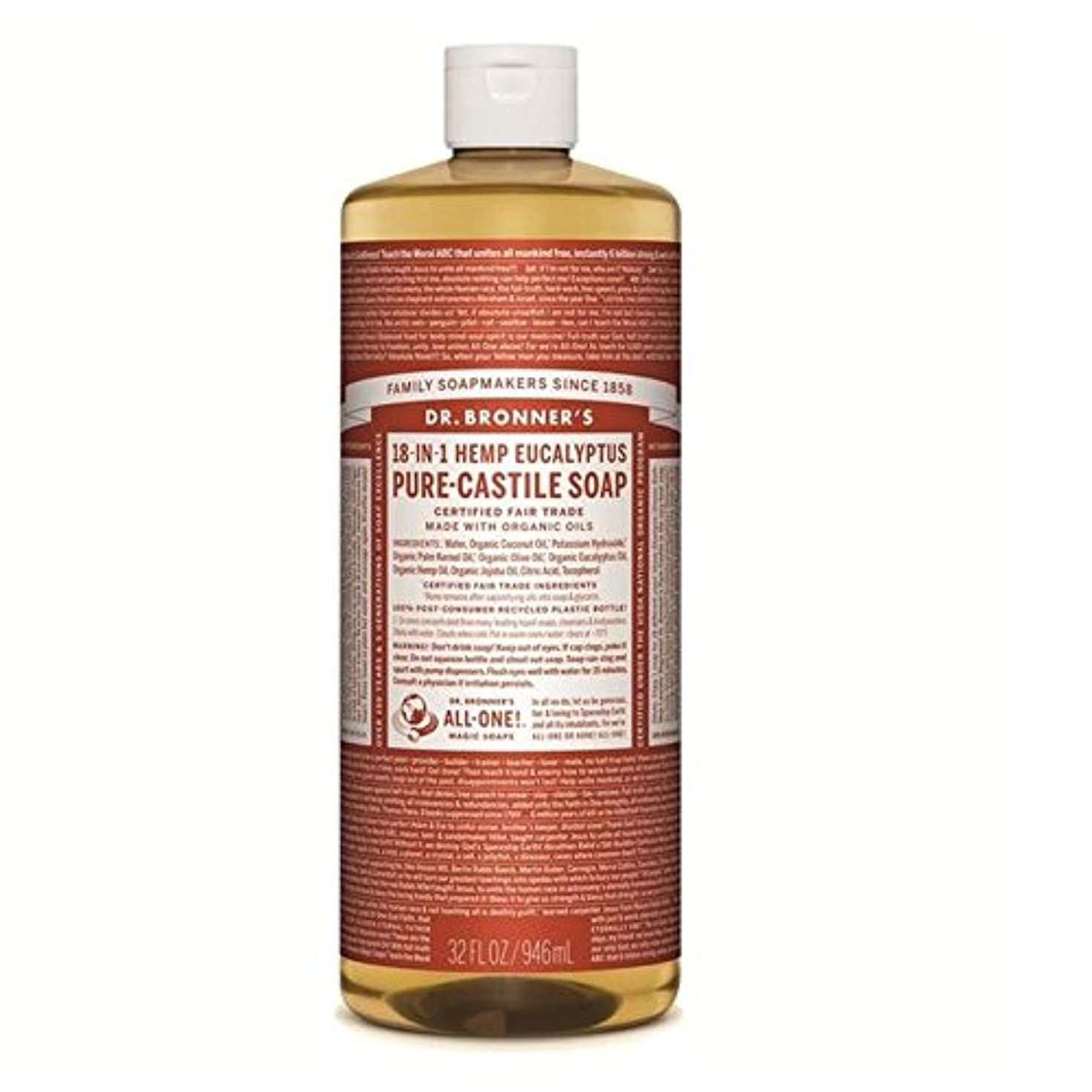 ドアミラーハンディキャップリールのブロナー有機ユーカリカスティーリャ液体石鹸946ミリリットル x4 - Dr Bronner Organic Eucalyptus Castile Liquid Soap 946ml (Pack of 4) [並行輸入品]