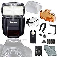 Canonスピードライト430ex iii-rtフラッシュ( 0585C006) W / EssentialバンドルIncludes : 180degreeクイックフリップブラケット、カメラフラッシュコード、ソフトディフューザー、リモート制御とfibertiqueマイクロファイバークリーニングクロス