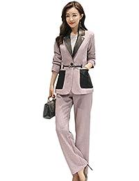 [美しいです] スーツ 洋服 レディース コート ズボン セット 春 秋 ウェスト締める ビジネス