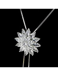 Baosity クリスマス  セーターネックレス 優雅 気質 ラインストーン クリスタル  スノーフレークペンダント ロングチェーン