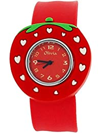 Toc KidsアナログレッドダイヤルStrawberry Slap Watch with White Hearts toc162