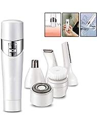 レディース電気シェーバー - 5 IN 1 防水かみそり - 足、顔、鼻、耳、眉毛、ボディ用痛みのない脱毛器 - ビキニトリマー