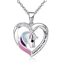 Binoster Unicorn Necklace Girl Heart Sliver Jewelry for Women Teen Girls Kid Keep me in Your Heart Pendants Gift 40cm Adjustable Chain