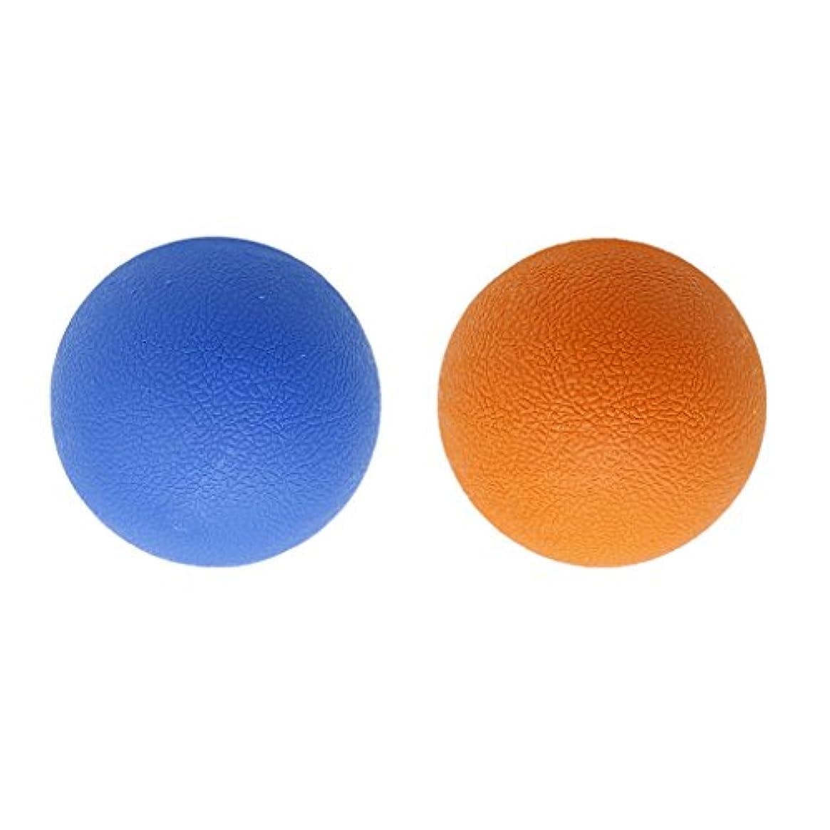ナチュラ新しい意味手伝う2個 マッサージボール ラクロスボール トリガ ポイントマッサージ 弾性TPE 多色選べる - オレンジブルー