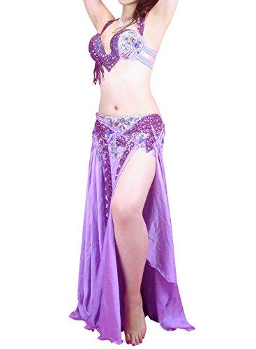 ベリーダンス衣装 エジプト オリエンタル 発表会 ステージ ハフラ 本格派 Hanan ラベンダー(M-L)
