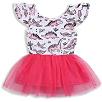 HAPPYMA Infant Toddler Kids Baby Girls Dress Dinosaur Tulle Tutu Sleeveless Skirt Clothes Set