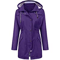 LOMON Raincoat Women Waterproof Long Hooded Trench Coats Lined Windbreaker Travel Jacket S-XXL