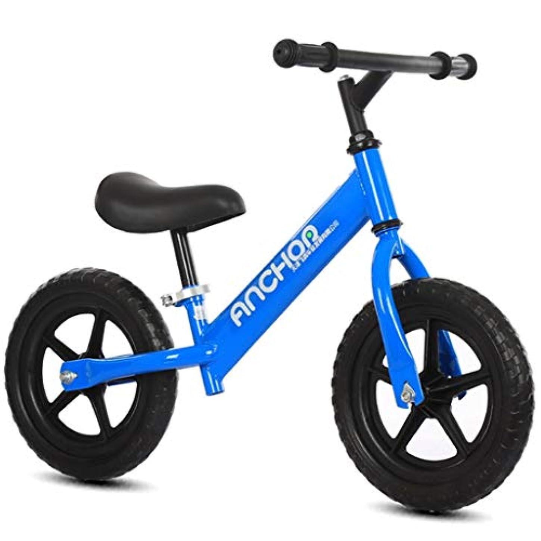 突っ込む壁警察署ペダルなし自転車 バランスバイク 12インチキッズバランスバイク、ノーペダル幼児トレーニング自転車、カーボンスチールフレームストライドバイク、調節可能なハンドルバー/シートで2-4歳のための自転車を歩きます (Color : Blue)
