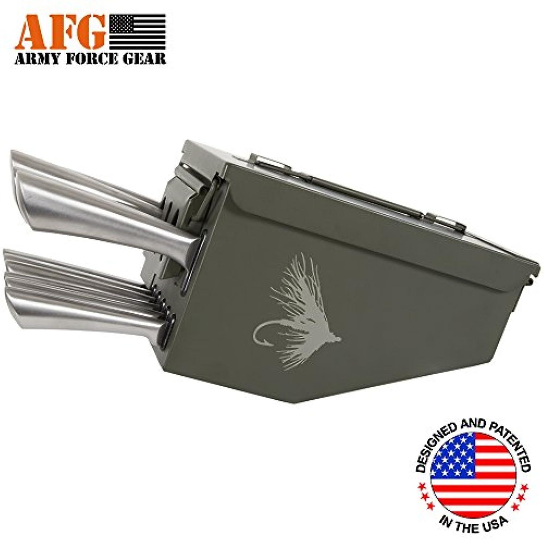Army Force Gearスチールキッチン10 Piece Ammo CanボックスMilitary Fly釣りルアーフックEngravedナイフブロックカトラリーシェフナイフ、鋸歯状ステーキナイフセット、三徳ナイフ、Carvingナイフ、パン切りナイフ
