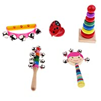 Blesiya 全3種類 楽器 おもちゃ タワー セミサークルラトル ハンドベル トロメル キャスタネット マラカス - 5個