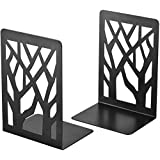 WeforU 2 Pcs Black Bookends, Metal Book Ends for Shelves, Book Shelf Holder, Book Holders,Book Stoppers for Office and School