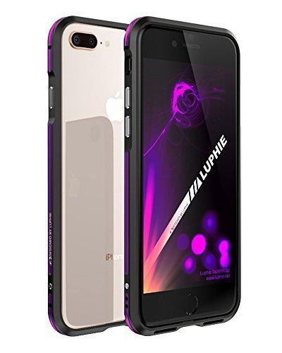 iPhone 8 Plus 金属フレーム ケース、uovon オシャレデザイン iPhone7 Plus アルマイト加工 バンパー 耐衝撃カバー アイフォン8Plus 専用 アルミニウム製保護ケース Qi充電 対応 携帯カバー (iPhone8Plus/7Plus, ブラック+パープル)