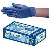 Universal Vinyl Gloves, Powder Free, Medium, Blue, HACCP Hazard Analysis and Critical Control Point, 100 per Box