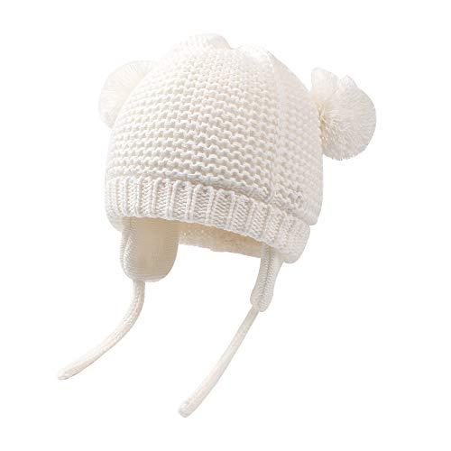 XIAOHAWANGベビーニット帽子 赤ちゃん帽子 フリース厚さある かわいい 女の子 男の子 耳保護付き ポンポン付き 綿 無地 柔らかい 暖かい かわいい 防風・防寒・保温 春 秋 冬(7-15ヶ月,厚手-ベージュ)