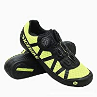 Cycling Shoes, Mountain Bike Shoes Unisex Anti-Slip Breathable Mesh Shoes Wear-Resistant Sports Light Running Shoe for 4 Seasons,LightYellow,36
