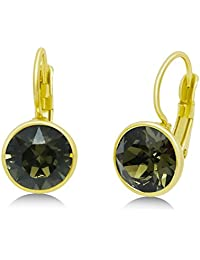 Swarovski Crystal Leverback Earrings - 8mm Dangling Navette; 15X Yellow Gold Plated (Smoky Quartz)