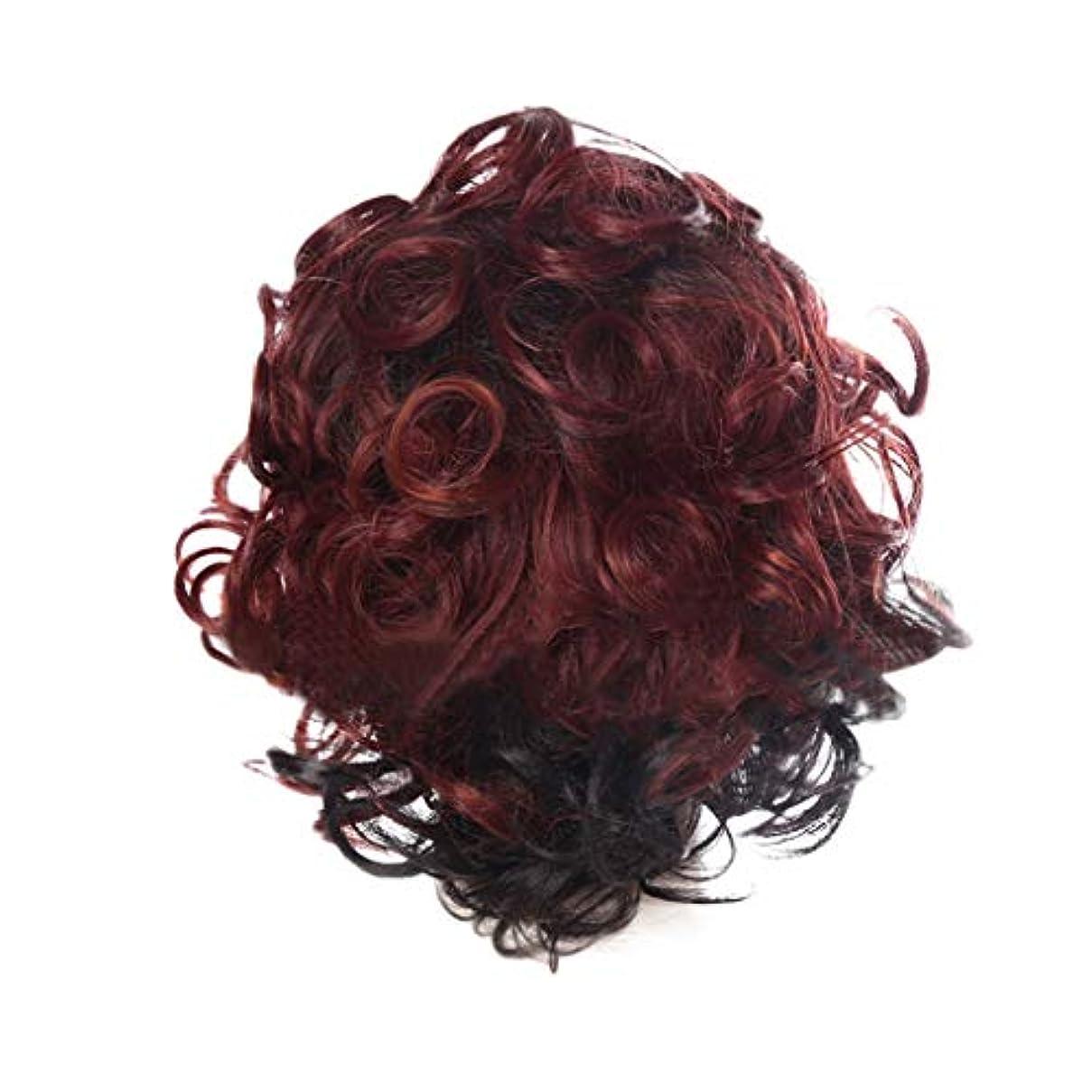 栄養貫通中央女性の赤い短い巻き毛の人格爆発ヘッドかつら35 cmをかつら