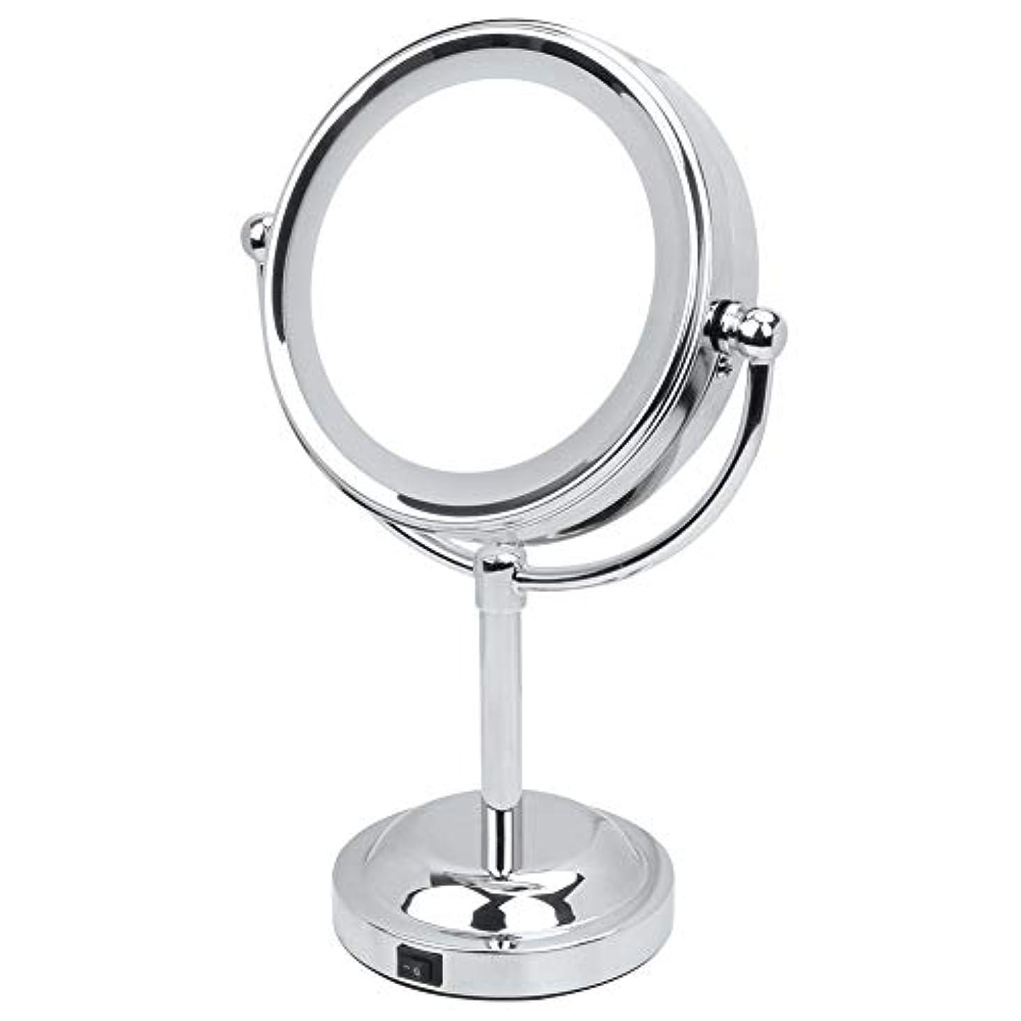 サイレン教養があるメンタル化粧鏡 3倍 拡大鏡 LED ライト付き 拡大+等倍 両面鏡 スタンドミラー 卓上 メイクミラー 360度回転 卓上ミラー 浴室鏡 女優ミラー 真実の鏡